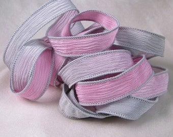 Hand Dyed Silk Ribbons - Crinkle Silk Jewelry Bracelet Fairy Ribbon - Quintessence - Pink and Grey
