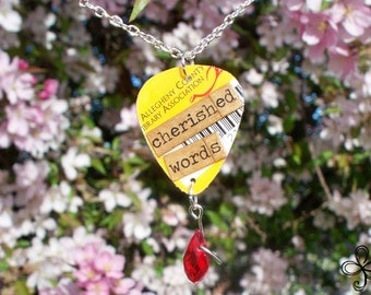 Library Pick Necklace (cherished words)