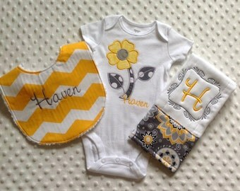 Baby Girl Personalized 3 Piece Gift Set  - Bib, Bodysuit, Burp Cloth-Yellow Chevron and Gray Florals
