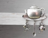 Teapot Tea time Pin or Brooch - Anyone For TEA  - Vintage Styled  - cup & saucer teaspoon - Ltd Edition Etsy UK