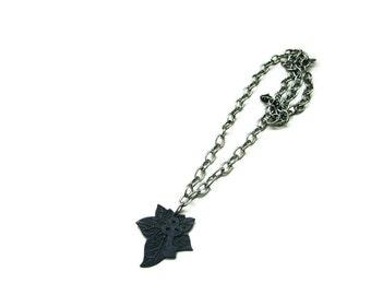 Ivy Leaf Key Necklace Black Silver Steampunk Styled - UNDER THE IVY - Ltd Ed of 2 - ready to ship Etsy uk