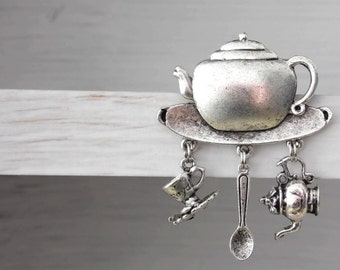 Will ship 20th August - Teapot Tea time Pin or Brooch - Anyone For TEA  - Vintage Styled  - cup & saucer teaspoon - Ltd Edition Etsy UK