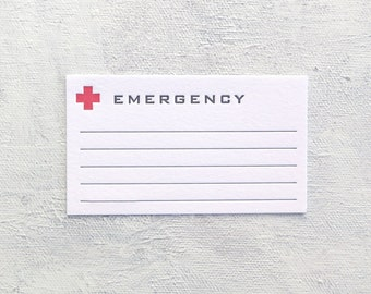 Letterpress Fill-In Cards - Emergency (Set of 5)