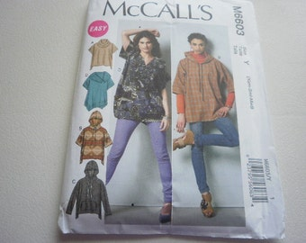 Pattern Ladies Pullover Tops and Hoodies - Sizes XS,S,M - McCall's 6603