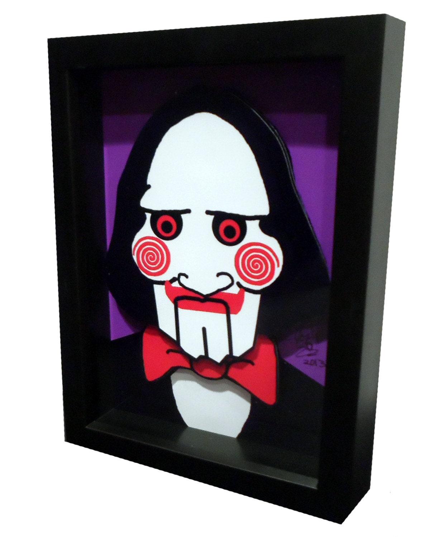 saw movie poster jigsaw puppet 3d pop art. Black Bedroom Furniture Sets. Home Design Ideas
