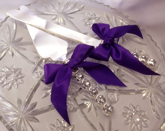Elegant Engraveable Crystal Wedding Cake Server Set Cake Cutting Set Purple Wedding Cake Cutter Set Crystal Handles Custom Colors