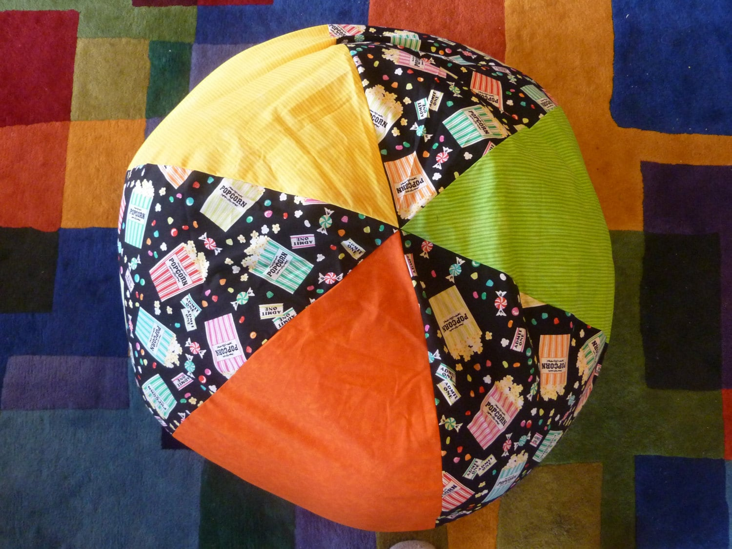 Multi Colored Popcorn And Candy Bean Bag Chair Cover Orange