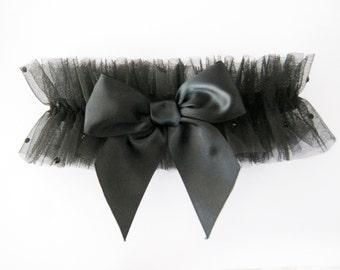 Dotti Tulle Garter, Black Garter, Rhinestones Garter,  Wedding Garter, Modern Garter,