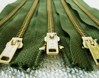 7inch - Hunter Green Metal Zipper - Gold Teeth - 5pcs