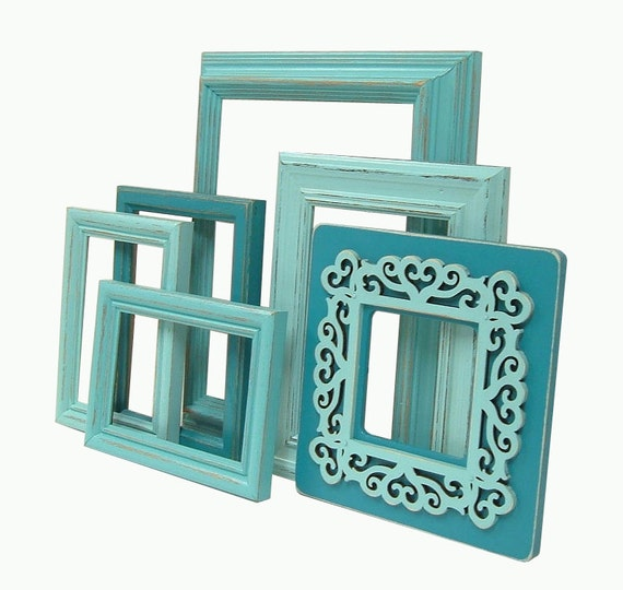 Shabby Chic Picture Frames Turquoise Aqua Picture Frame Set Beach Cottage Home Decor