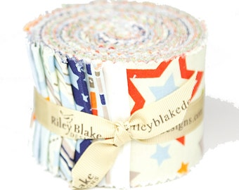"One For The Boys 2 1/2"" strips Rolie Polie by Zoe Pearn for Riley Blake, 18 pieces"