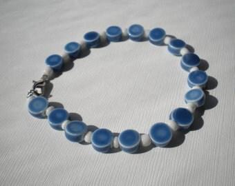 Blue & White Bead Bracelet - Large Wrists
