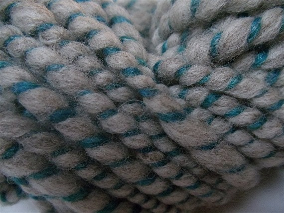 "Handspun Bulky Yarn Babydoll Wool / Alpaca Gray & Teal 52 Yards  "" Cat's Eye """