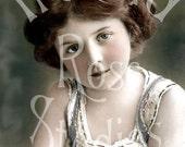 Summer-Little Girl-French Postcard-Digital Image Download