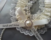 bridal horseshoe charm ivory satin and  lace personalized Lucky horseshoe with diamante faux pearl