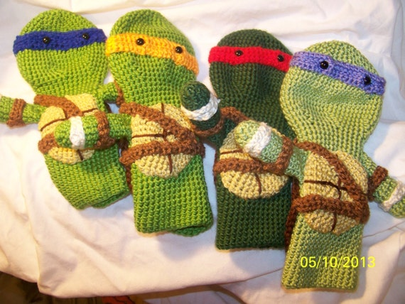 Crochet Patterns Golf Club Covers Free : Crochet Teenage Ninja Turtles golf club cover Geat for Fahters Day