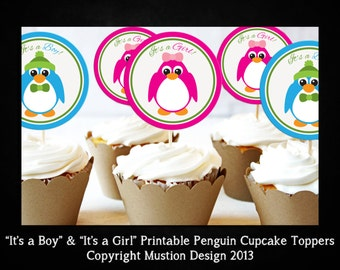 Printable Penguin It's a Boy & It's a Girl Cupcake Topper Template