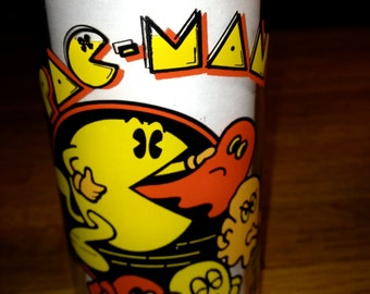 vintage 1982 Bally Midway MFG. CO. Pac Man video game 10 oz drinking glass RAD