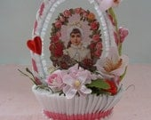 RESERVED for SUZANNE in Michigan - Vintage Style Victorian Valentine Nut Cup Decoration