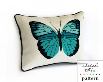 turquoise butterfly modern needlepoint pattern - elegant entomology - diy - contemporary - pdf - instant download