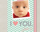Modern I Love You Valentines Day Custom Double-sided Photo Card (Printable Digital File or Printed) - Mint, Coral, & Gray