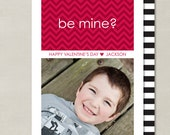 Simple Red Heart Chevron Valentines Day Custom Double-sided Photo Card (Printable Digital File or Printed)