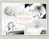 Pretty Storyboard Custom Photo Birth Announcement (Digital or Printed)