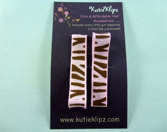 NEW...Everyday Pink and Black Zebra Printed Hair Clips - Set of 2 for...1.00 Hair Accessory - D57
