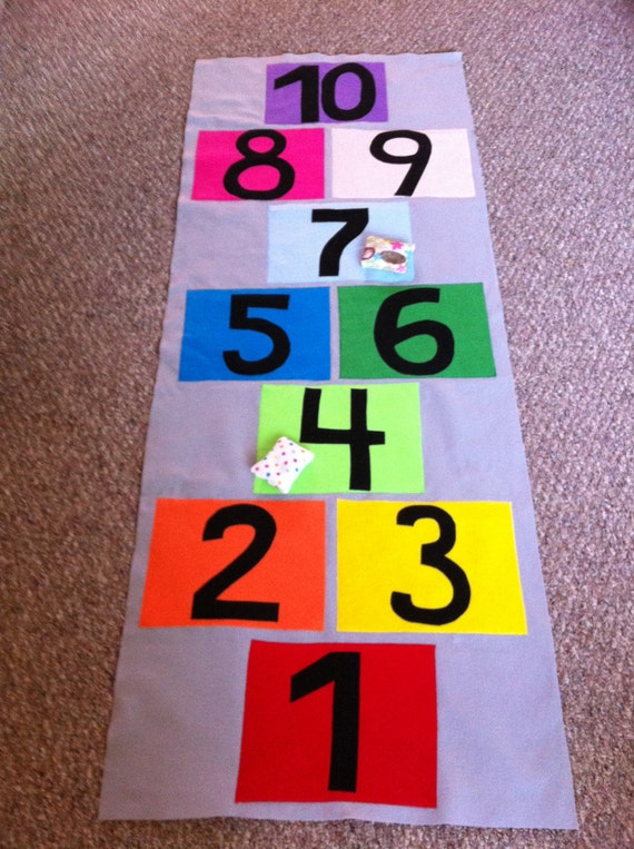 Felt Roll Up Hopscotch Mat With Bean Bags