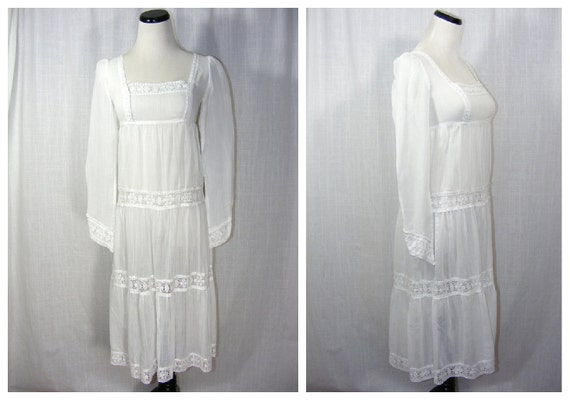 White gauzy cotton dress. TRIVIA by Charm of Hollywood 1960s. Crochet lace trim, sheer, long sleeve, princess line. Boho Prairie Wedding.
