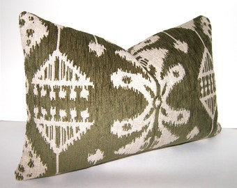 Decorative Pillow Cover - 12x18 - 12x20 or 12x22 inches - Ikat - Olive Green and Beige - Accent Pillow - Throw Pillow