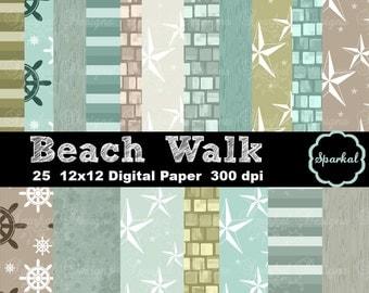 Beach Digital Paper, Sand Surf Summer PRINTABLE Invitation paper Printable Beach paper, Instant Download