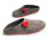 Warmest Love Gift Felted Slippers Valentines Day Gift For Her Organic Neutral Brown Gray Wool Slippers Clogs Rubber Soled Handmade Slippers