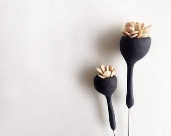 organic minimal contemporary polymer clay brooch ''black bell flower with leaves'' large size-made to order-