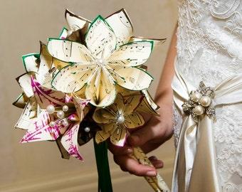Music and 2 Lilies Bridal Bouquet- 11 inch, 20 flowers, custom wedding, origami, handmade, destination wedding, bride, non traditional