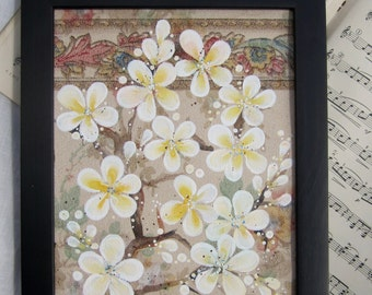 Wisteria - original painting of Yellow Blossoms painted on original antique 1927s wallpaper
