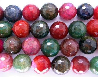 Beautiful Large Multicolor Agate Round Faceted Gemstone Beads 20mm