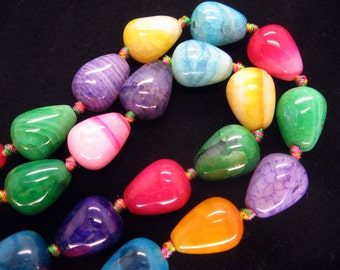 Full Strand Lovely Multicolor Veins Agate Smooth Teardrop Beads 20X10mm
