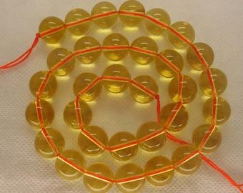 Full Strand Citrine Smooth Round Beads 12mm