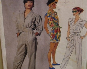 Womens Romper Pattern, Jumpsuit, Buttoned Front, Roll Up Pant Legs, Sleeveless, Sleeves, Pockets, McCalls No. 3068 Size 8