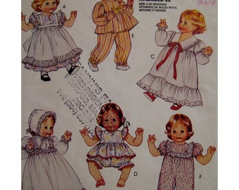 "SALE  Baby Doll Clothes Pattern, Dresses, Sunsuit, Pants, Christening Gown, Nightgown, Pinafore, McCalls No. 663 Fits 3 Sizes Dolls (12-22"")"