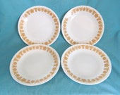 Set of 4 Vintage Corelle Butterfly Gold Dessert Plates or Bread and Butter Plates with Gold Flowers and Butterflies