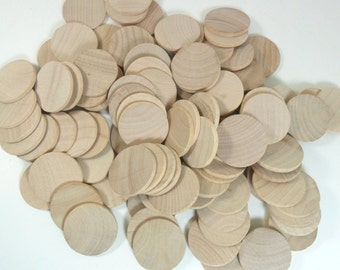 """Wood Circle Disc 1 1/4"""" FLAT Edge Unfinished Wood Rounds - 50 Pieces"""