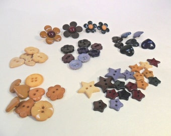 50 Buttons Assorted Hearts Stars Flowers Burgundy Gold Hunter Green Tan Blue Brown