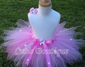 Pink Poodle Tutu Hair Clip 3 6 9 12 18 24 Months 2T 3T 4T