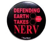 Neon Genesis Evangelion 2-Inch Button - Defending Earth takes NERV