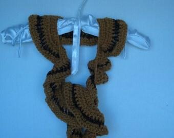 Ruffled scarf, multicolor ruffled crochet scarf, multifiber crochet scarf, hand croche scarf, gold with trim