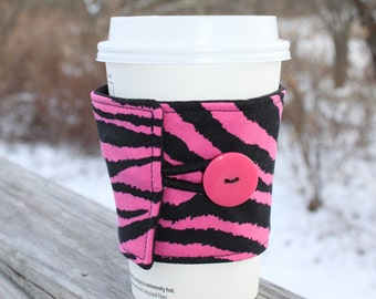 Zebra Print Coffee Cozy - Fabric Sleeve for Cardboard Coffee Cup - Hot Pink and Black Zebra Print -Animal Print Coffee Sleeve - Zebra Sleeve
