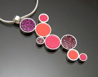 Sterling Silver Sparkle Fuchsia, Hot Pink, and Coral Resin Cascading Bubbles Pendant