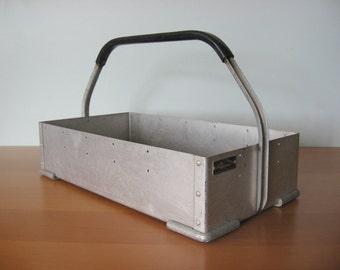 Vintage Aluminum Tote - Crate - Industrial Storage